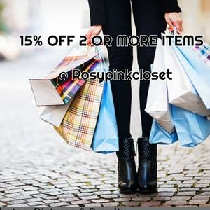 15 % off 2 or more items from this closet!